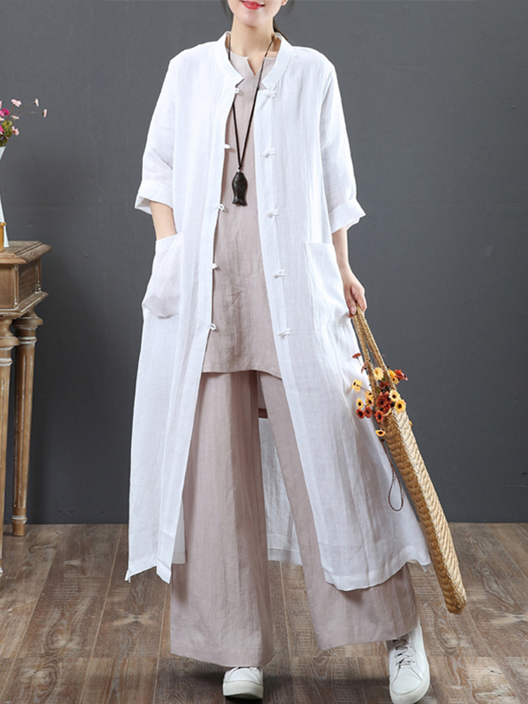 Women Vintage Stand Collar Casual Loose Shirt Cardigan