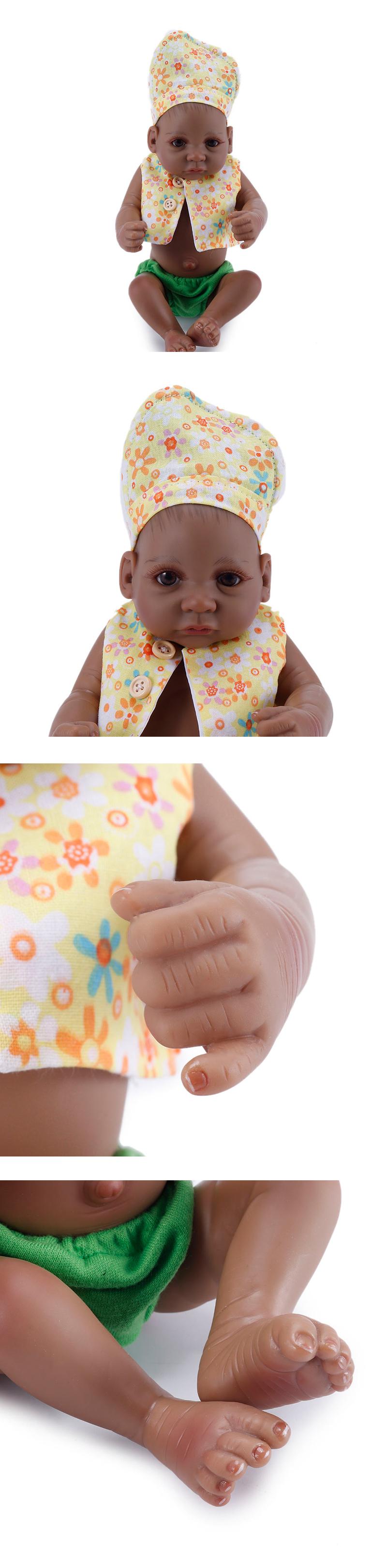 NPK 10 Inch 27cm Black Reborn Baby Soft Silicone Doll Handmade Lifelike Baby Girl Dolls Play House Toys Birthday Gift