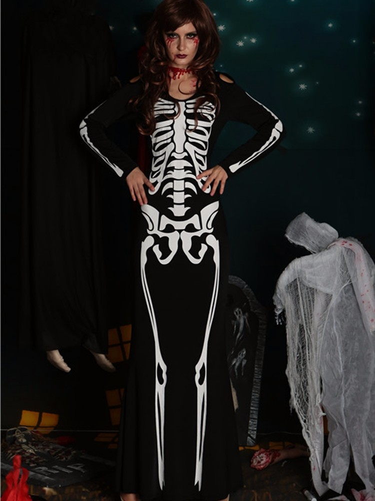 Holloween Party Skeleton Printed Maxi Dress Cosplay Females Devil Costumes