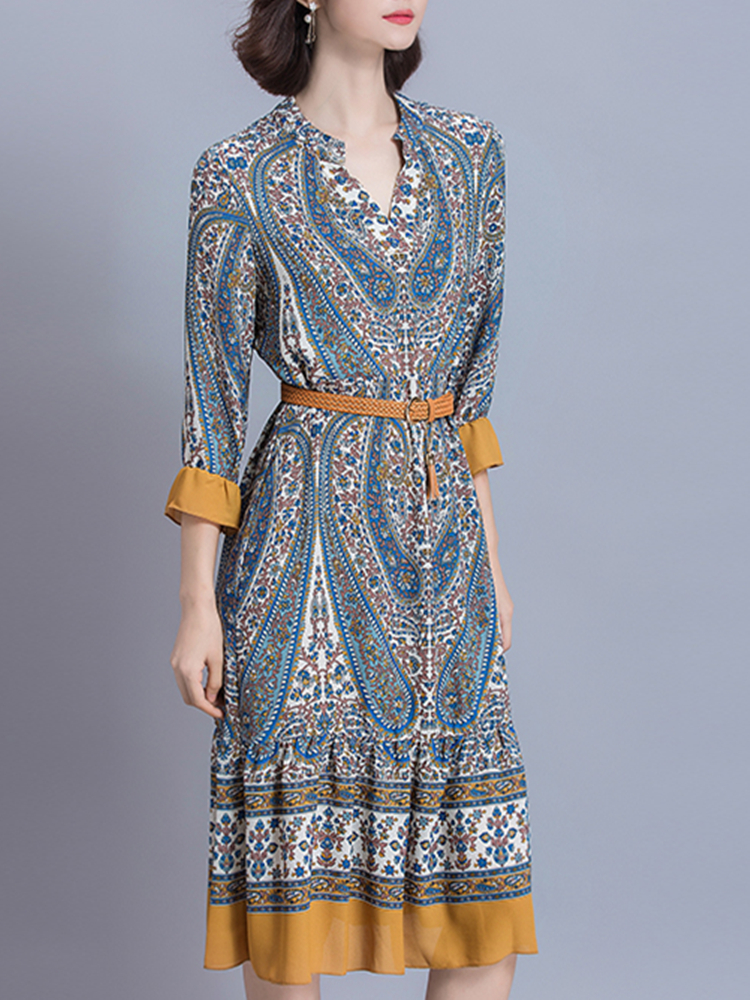 Women Vintage Printed V-Neck Dresses 3/4 Sleeve Midi Dress