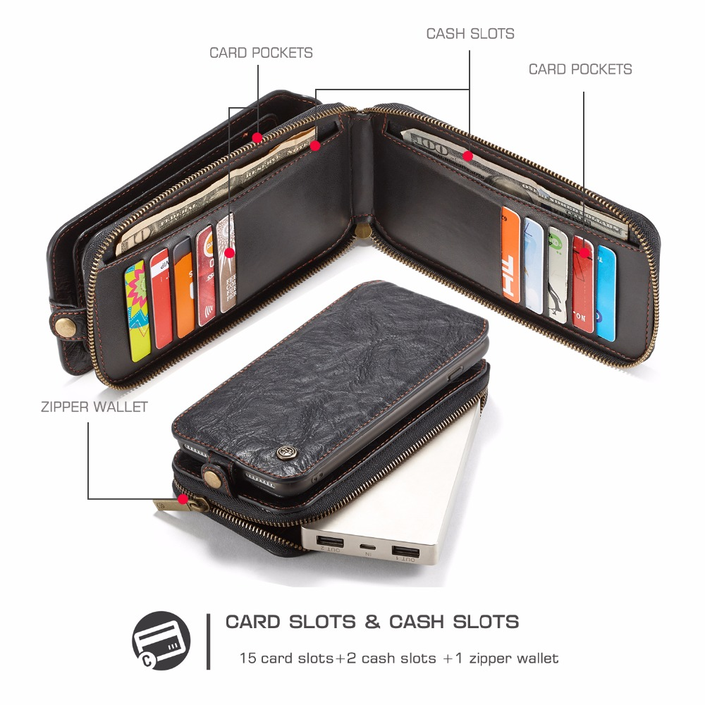 Caseme Multifunctional Detachable Zipper Wallet Card Slots Case For iPhone 7 Plus & 8 Plus