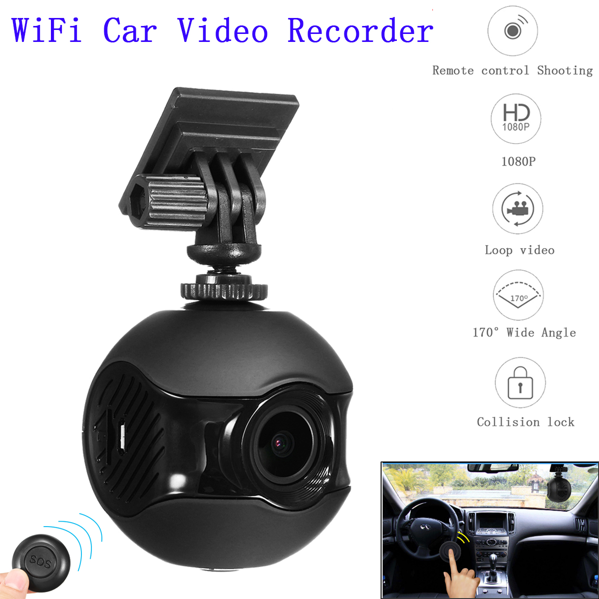 170 Degree HD 1080P Hidden Wifi Car DVR Camera Video Recorder Dash Cam Cyclic Recording