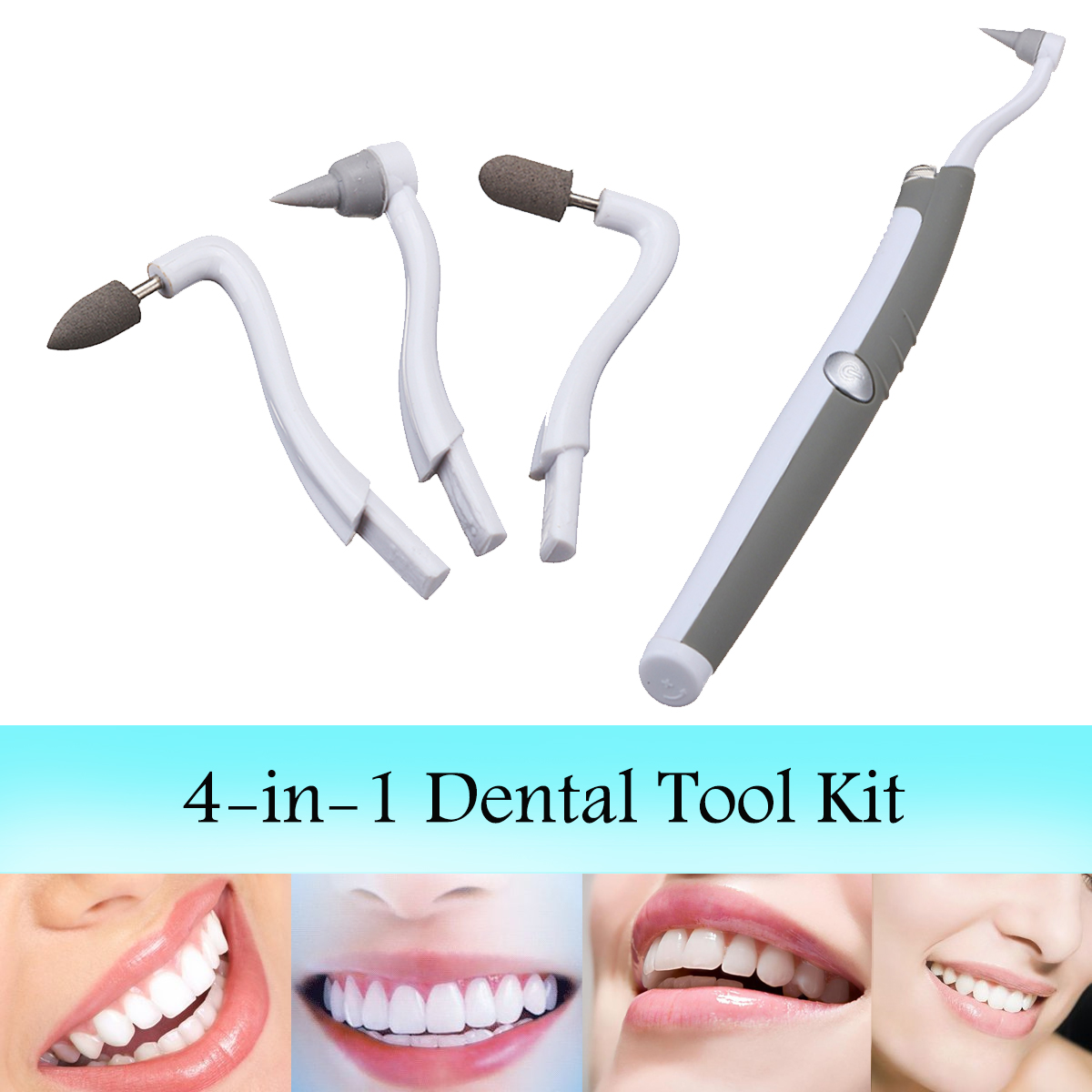Sonic Teeth Cleaning Kit Polish Vibration Dental Tools 4 Heads Brush Stain Remover Tooth Whitening
