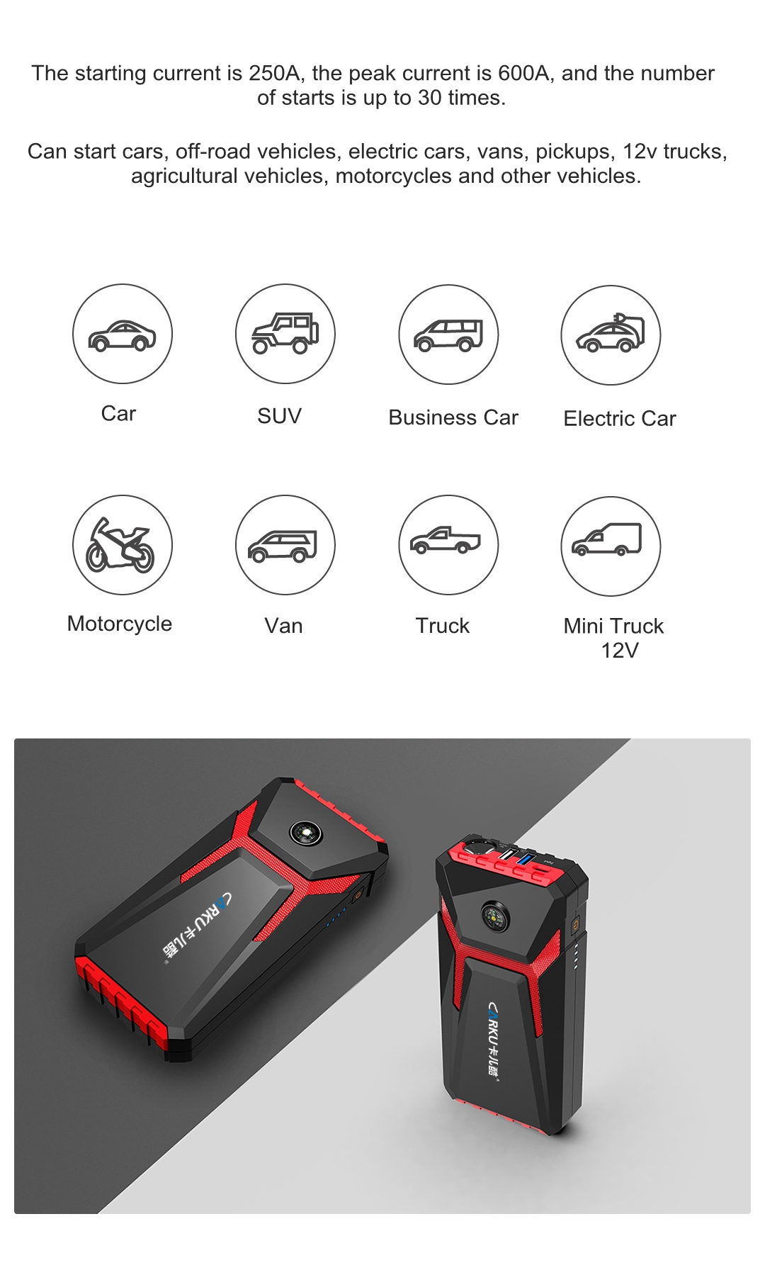 XIAOMI CARKU X6 12V 10000mAh Emergency Jump Starter Booster Multi-functional LED Light Compass SOS Mode Power Bank Q3.0 Fast Charging Auto Power Source
