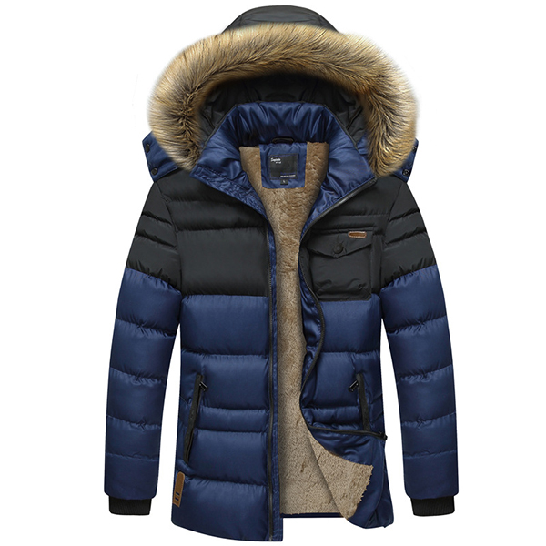 Mens Thick Fleece Winter Hooded Detachable Fashion Stitching Jacket Casual Stand Collar Outdoor Coat