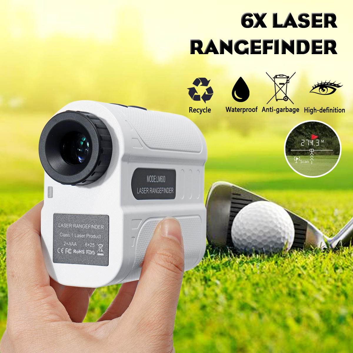 600m Golf Range Finder Hunting Rangefinder Laser Telescope
