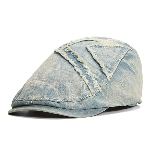 Mens Summer Cotton Washed Cowboy Beret Hat Casual Outdoors Visor Jeans Hats