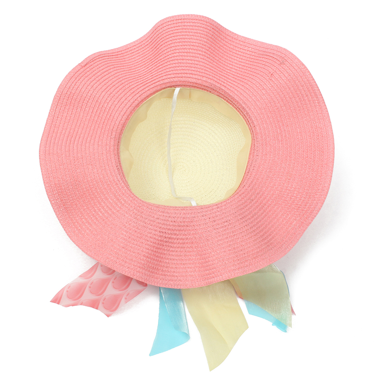 Women Girls Straw Floppy Bowknot Chiffon Wide Brim Hat Summer Beach Sun Mixed Color Cap