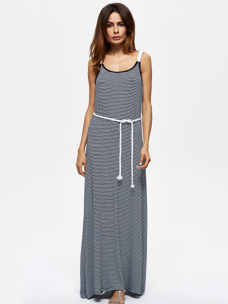 Casual Women Sleeveless Striped Summer Maxi Dresses