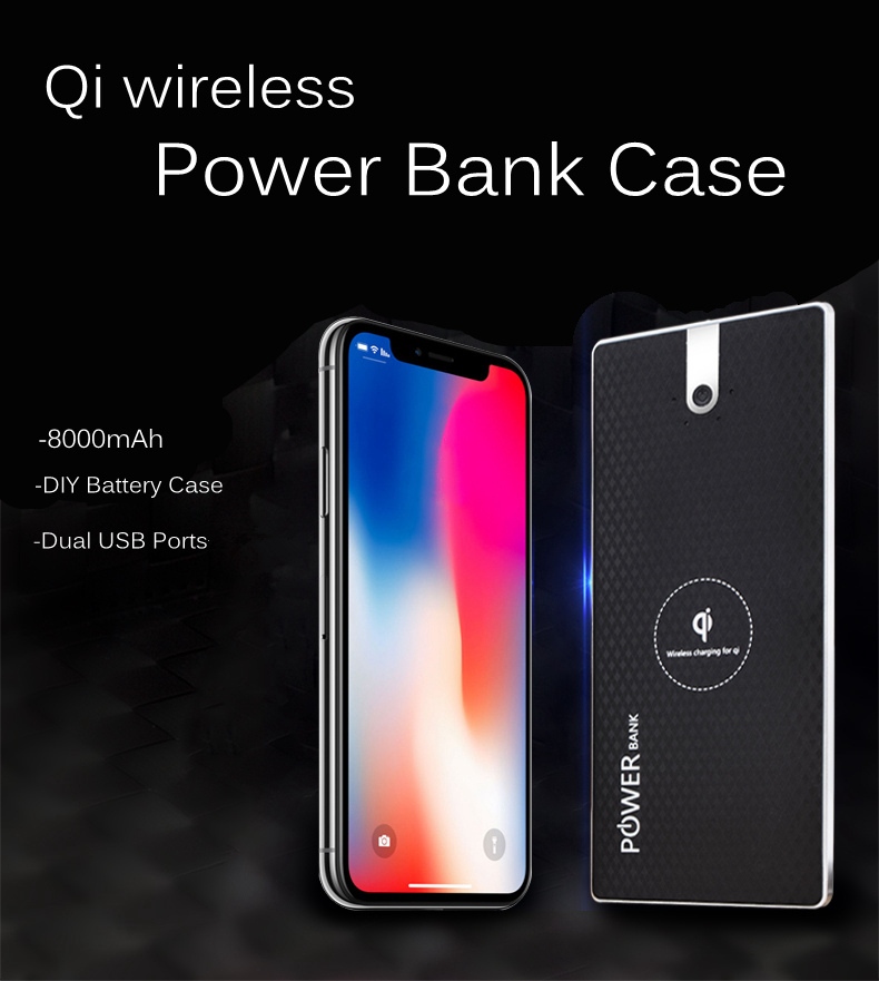 Qi Wireless Dual USB Ports Power Bank Case DIY Box Kit for Samsung S8 Note 8 iPhone 8 Plus X