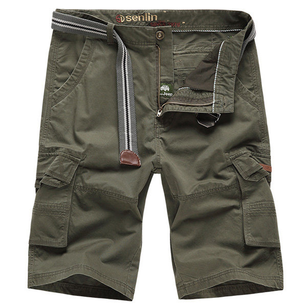 Summer Mens Causal Outdooors Solid Color Cotton Multi Pockets Military Cargo Shorts