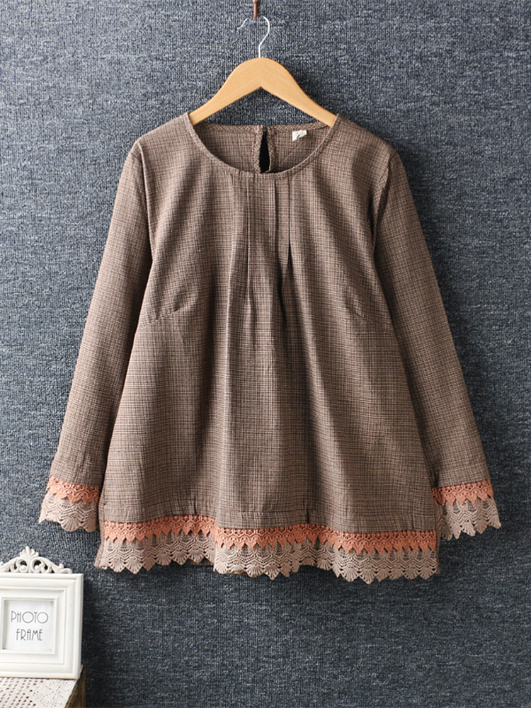 Women Long Sleeve Lace Patchwork O-neck Blouse