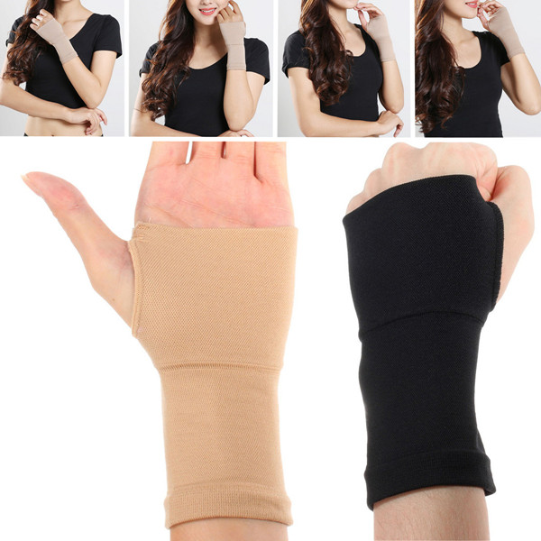 2X Wrist Elastic Hand Support Strap Brace Glove Sleeve Arthritis Pain Protector