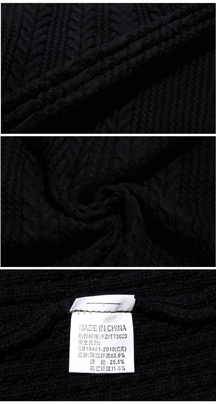 Autumn Winter Leisure Twist Pattern Warm Cardigans Men's Stand Collar Long Sleeved Knitted Sweater