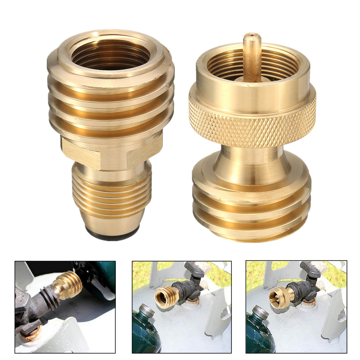 Brass Propane Bottle Refill Adapter Regulator Valve Fits 1LB Tank Cylinder BBQ Accessory