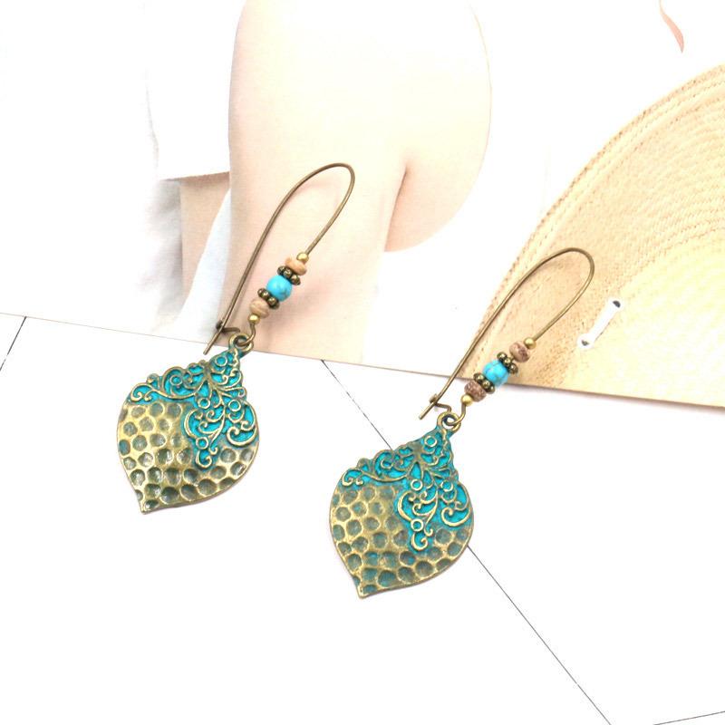 Vintage Flower Leaf Charming Pendant Drop Earrings