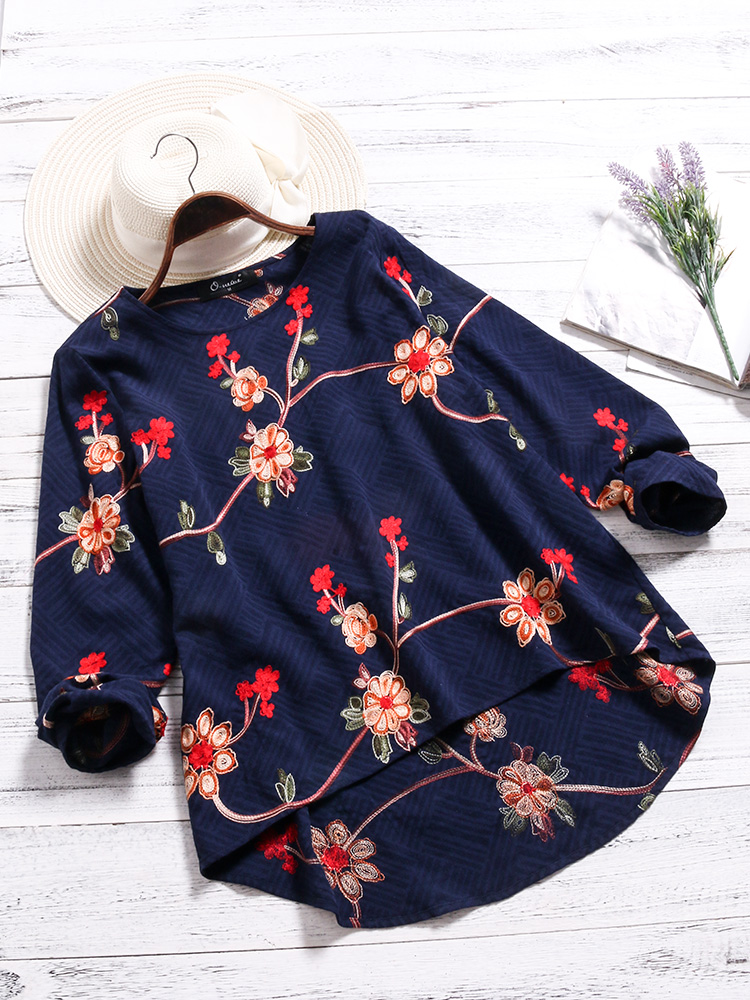 O-NEWE Casual Women Floral Embroidery O-neck Shirts