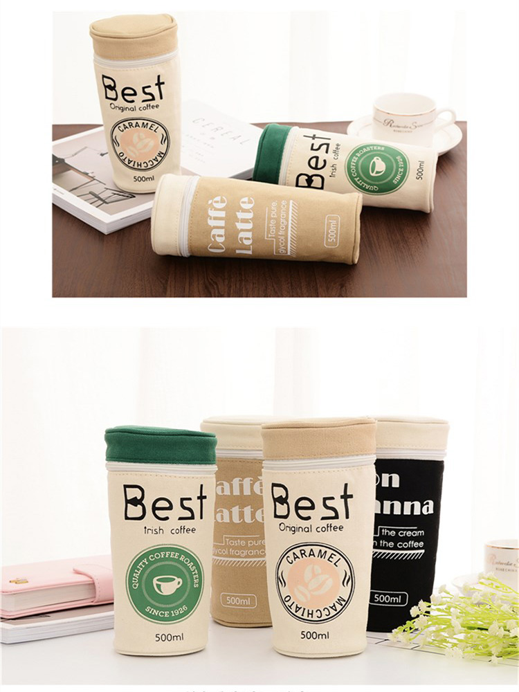 Pencil Case Supplies Stationery Kawaii Coffee Cup School Student Gift Pen Box Bags Cute Pencilcase Office School Tools