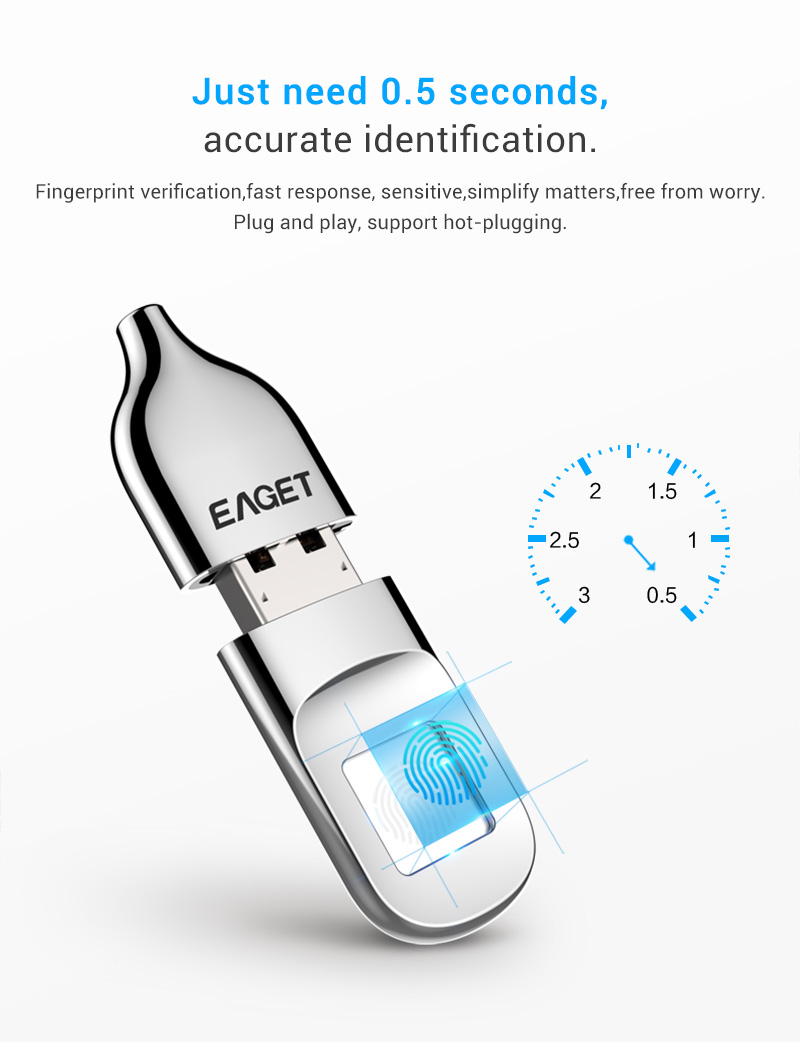 EAGET FU5 Fingerprint Encryption USB 2.0 Pen Drive USB Flash Drive 32G 64G