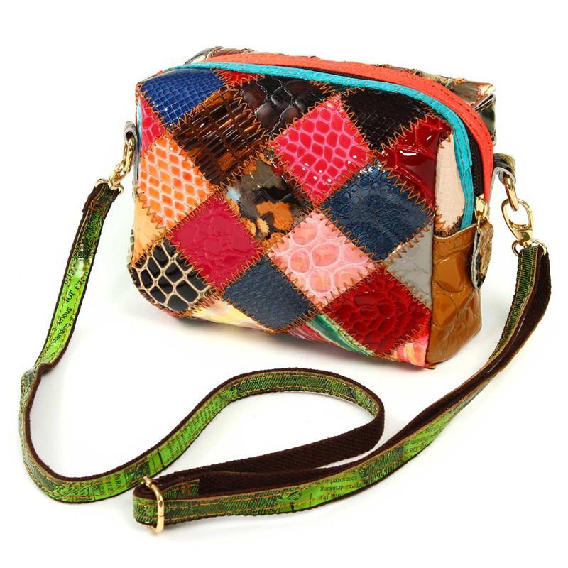 Women Genuine Leather Patchwork Crossbody Bag Shoulder Bag