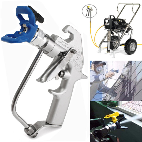 5000 PSI Silver Airless Paint Spray Gun With Blue Base And Black 517 Tip Spayer