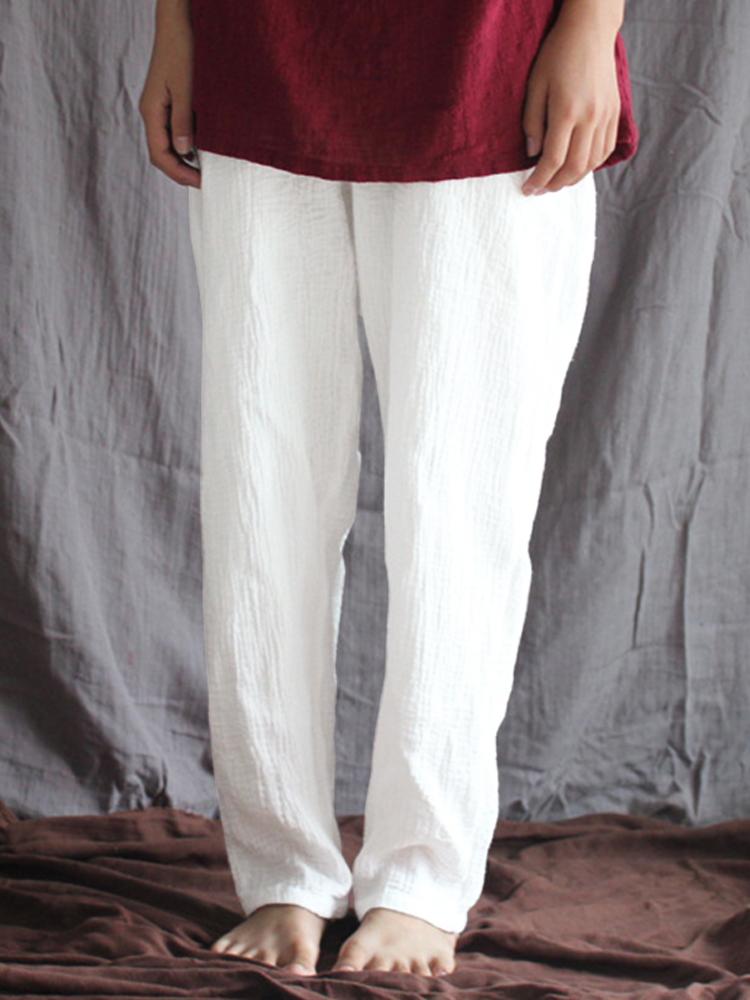 Women Vintage Elastic High Waist Pants