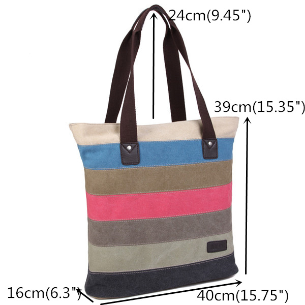 Women Patchwork Canvas Handbag Hit Color Messenger Bag Tote Shoulder Bag