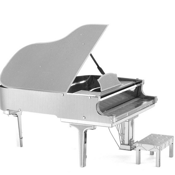 DIY 3D Puzzle Stainless Steel Assembled Model Piano Silver Color