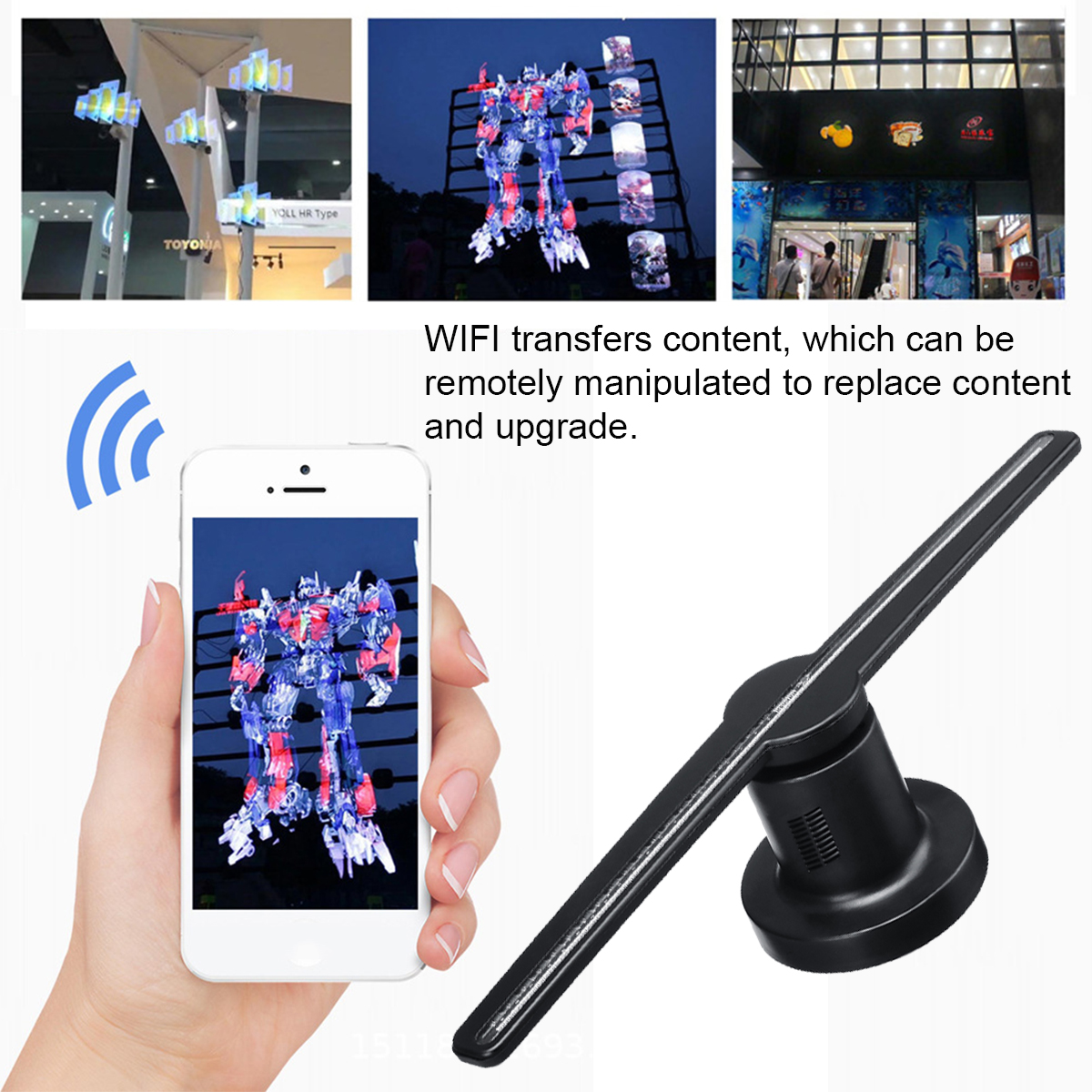 WIFI 3D Holographic Sight Projector Display Fan LED Hologram Player Lamp Advertising