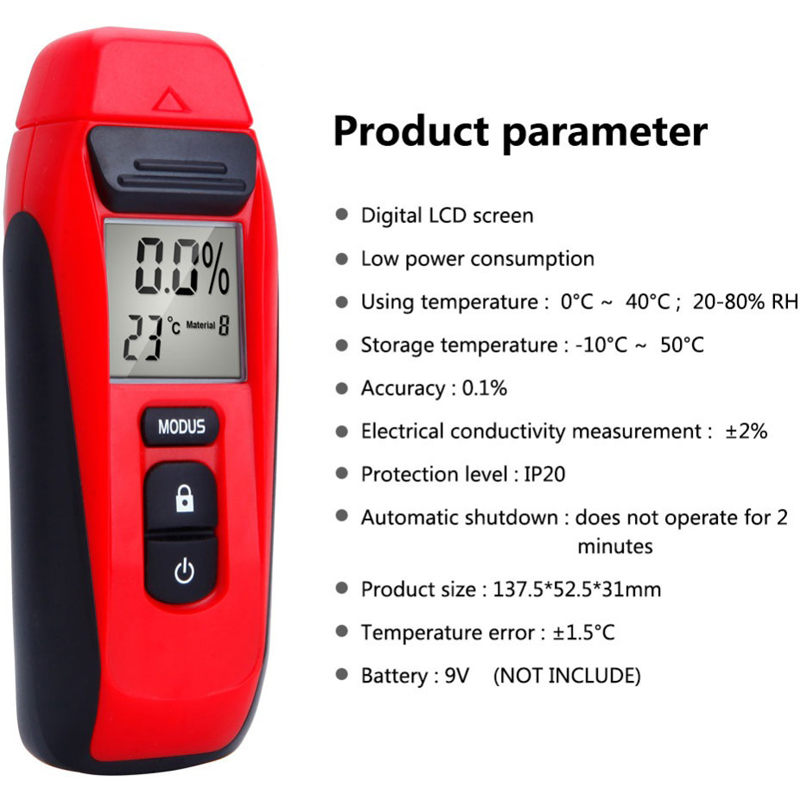 G110 Wood Moisture Tester Moisture Sensor LCD Display Digital Moisture Meter Measuring Water Tester