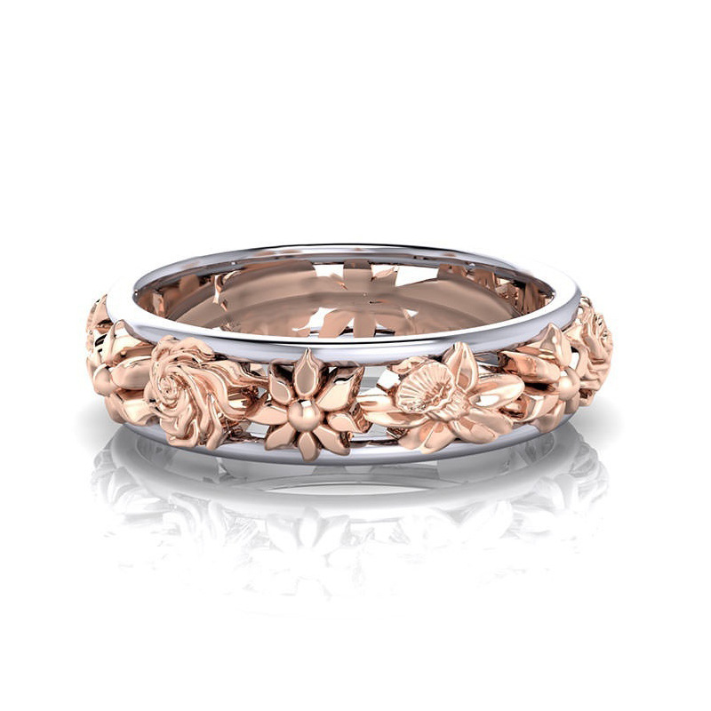 Fashion Double Color Flower Finger Ring