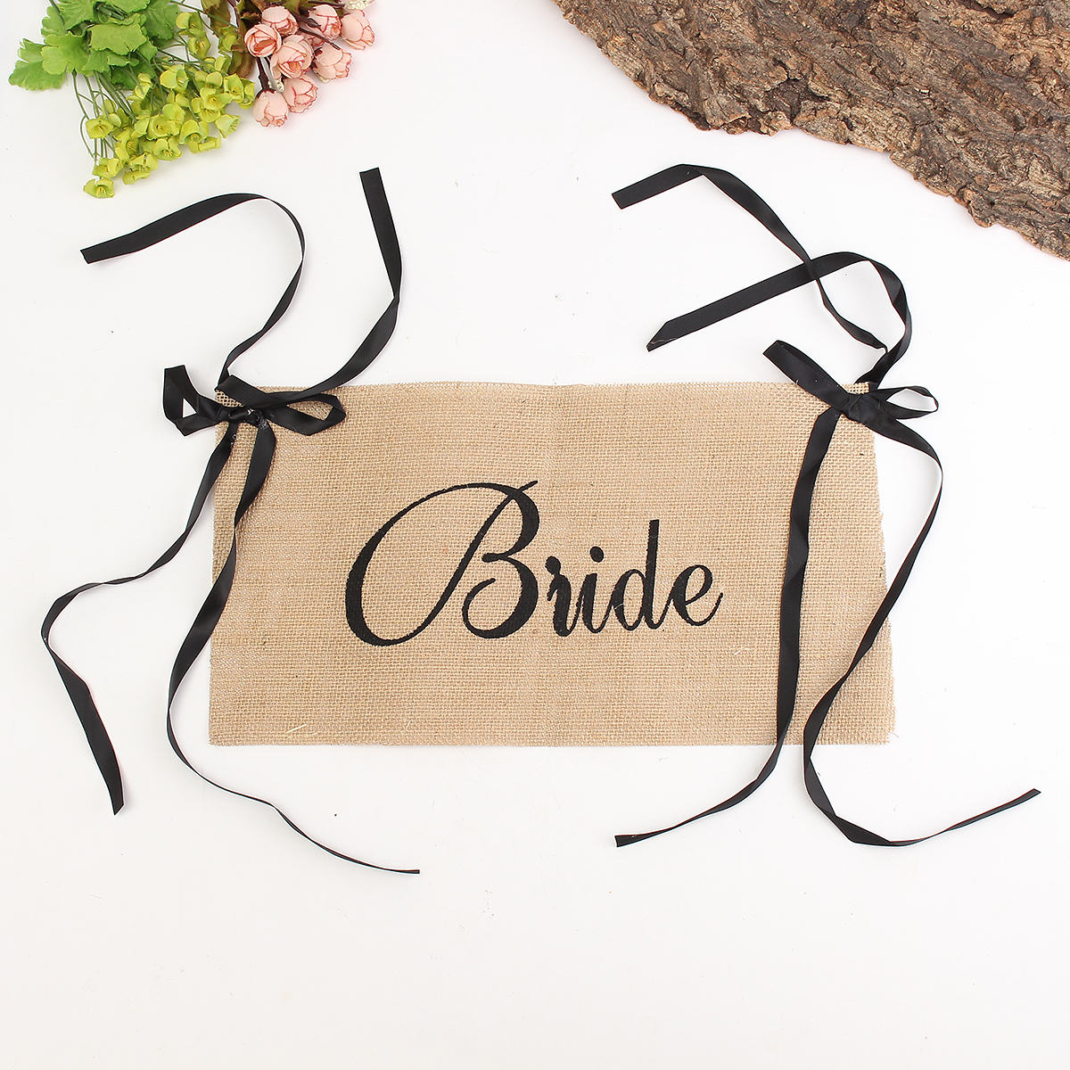 Bride Groom Wedding Chair Bunting Hessian Burlap Banner Party Decoration