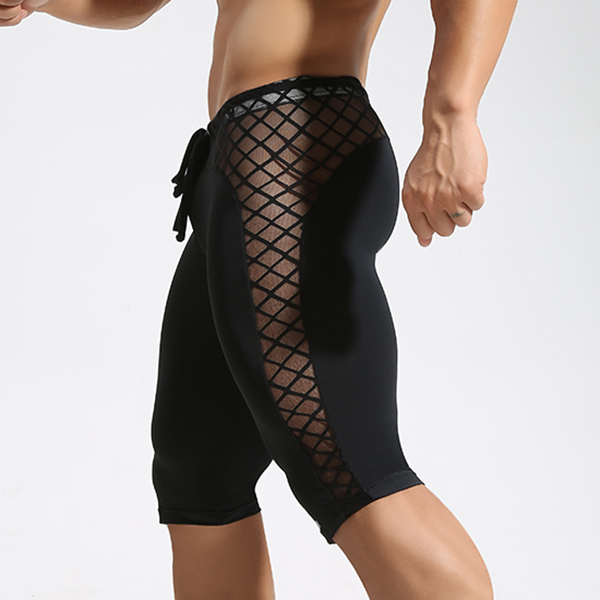 Sexy Transparent Mesh Grid Sports Fitness Shorts Men's Tights Fast Dry Fit Gym Beach Trunks