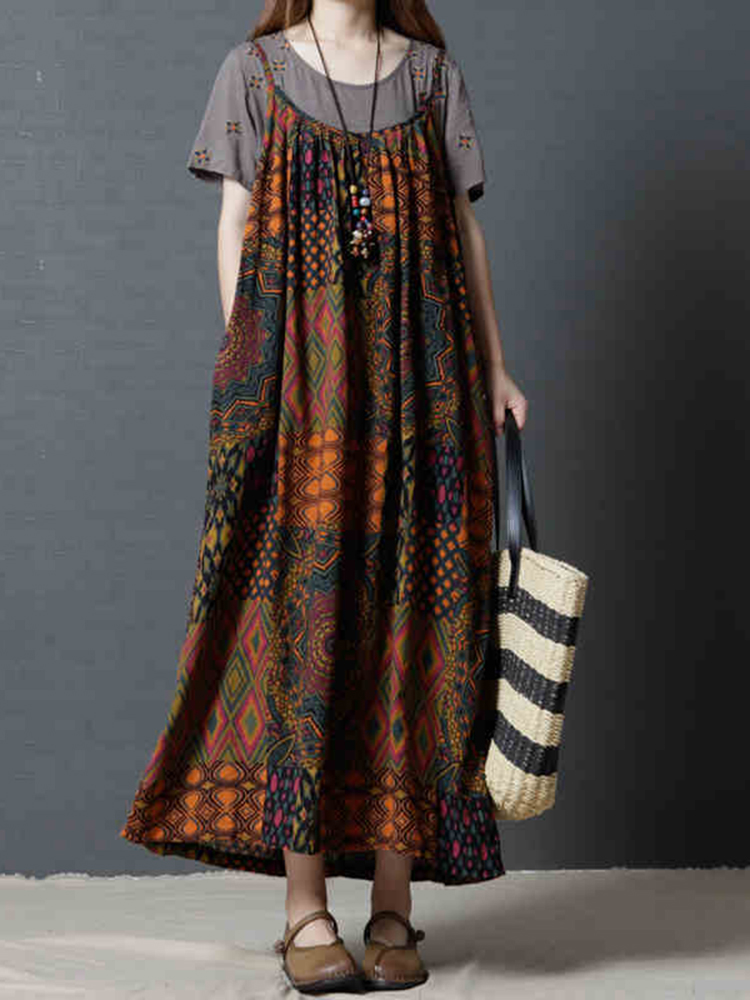 L-5XL Women Patchwork Bohemian Vintage Maxi Dress