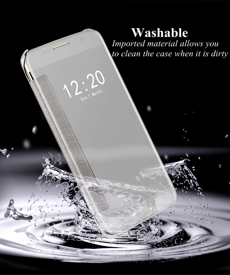 Electroplating Acrylic Mirror Smart Sleep Flip Case For Samsung S7 Edge