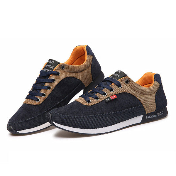 Men Breathable Canvas Casual Sport Lace Up Athletic Shoes