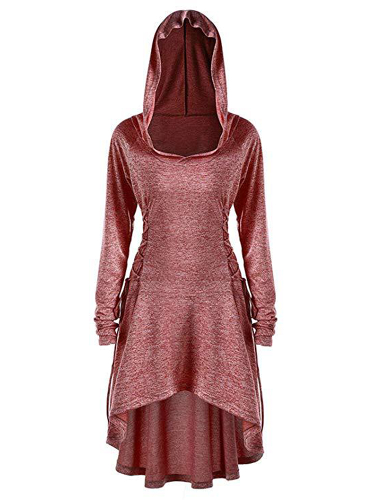 Solid Color Hooded Long Sleeve Irregular Hem Sweatshirt Dress