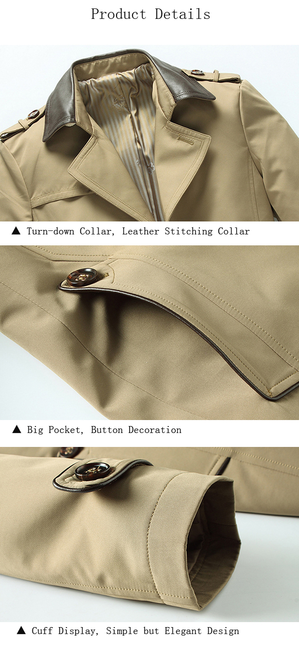 Mens Turn-down Collar Leather Stitching Business Thin Anti-wrinkle Single-breasted Trench Coat