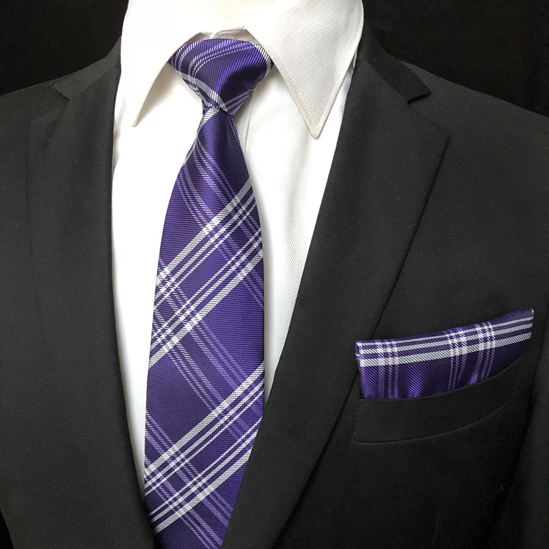 Mens Business Professional Woven Classic Check Tie