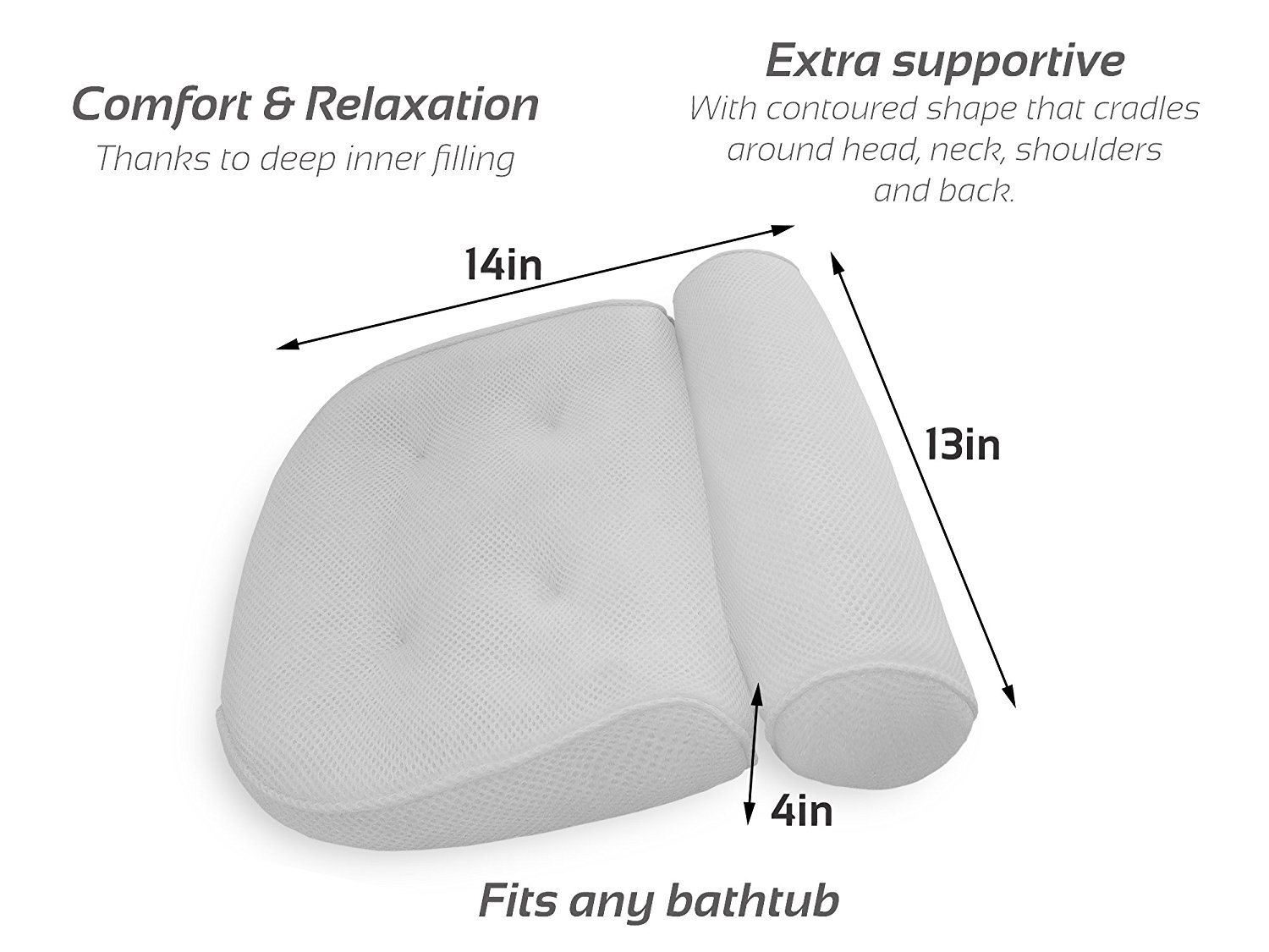 Premium Spa Bath Pillow with 4 Suction Cups 4
