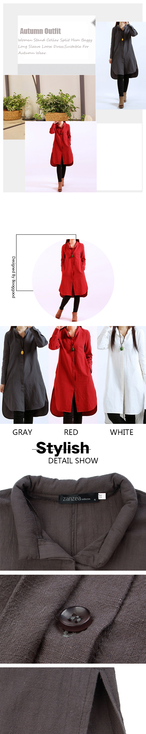 Women Stand Collar Split Hem Long Sleeve Shirt Dress