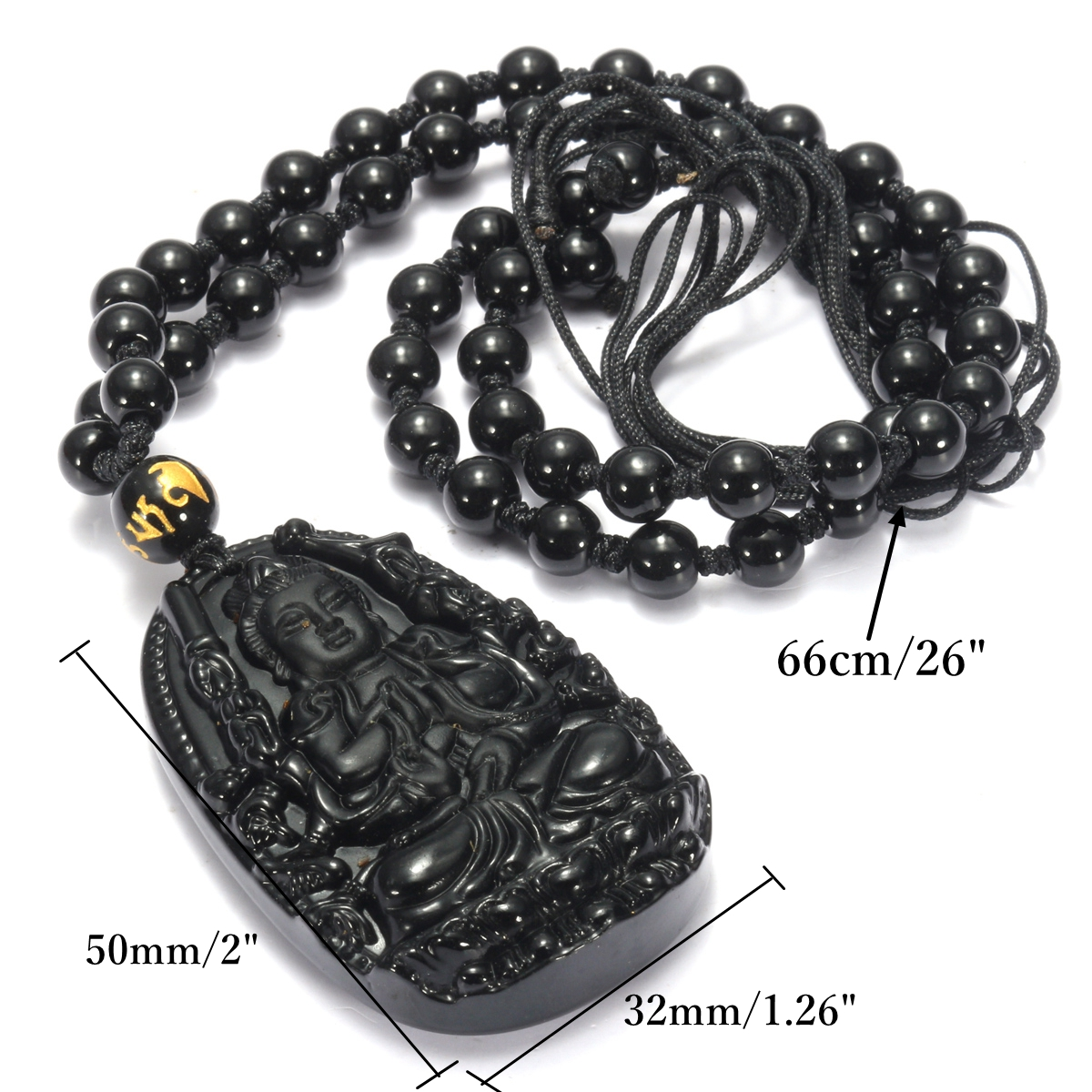 Black Obsidian Goddess Mercy Amulet Pendant Necklace Prayer