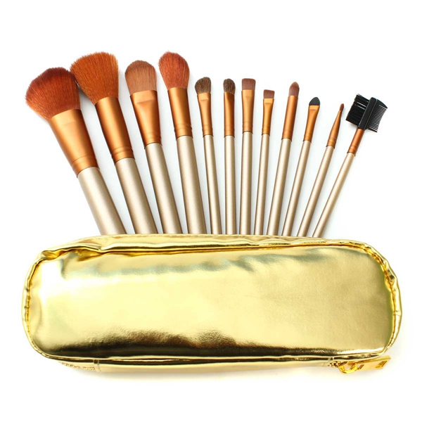 12Pcs Gold Professional Makeup Blush Eye Shadow Eyeliner Brush Set with Zipper Leather Bag Kit