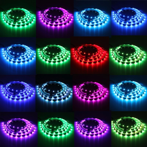 4 x 50cm 5050 RGB LED Strip Light Color Changing Mood Lighting TV Background Fish Tank Lamp DC12V