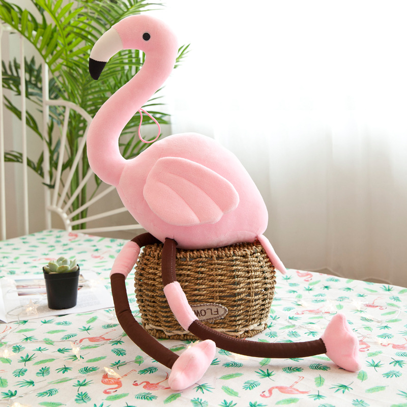 Light Pink/Red Flamingo Bird Plush Regular Stuffed Animal Collection Soft Doll Toy with Heart