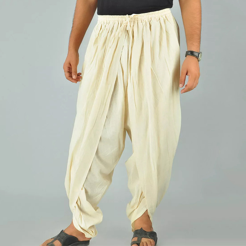 TWO-SIDED Men Irregular Shape Elastic Waist Loose Harem Pant