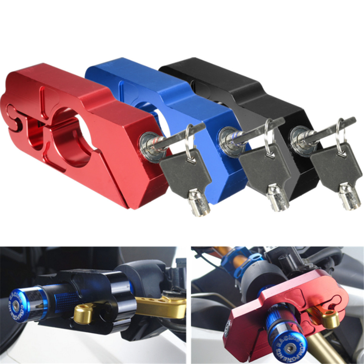 CNC Aluminum Handlebar Security Lock Motorcycle Scooter E-bike