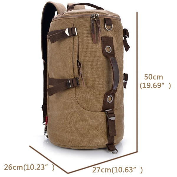 Dual Use Men's Canvas Hiking Camping Coffee Khaki Backpack