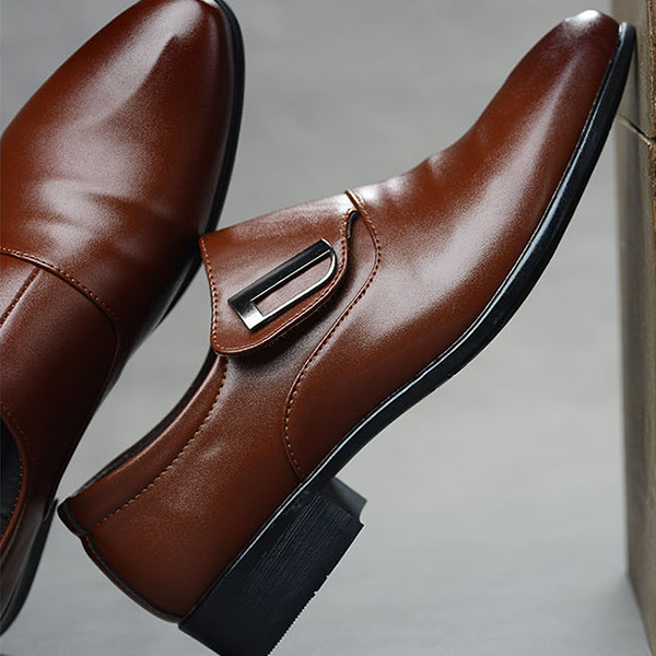 Men Hook Loop Pointed Toe Leather Business Formal Shoes