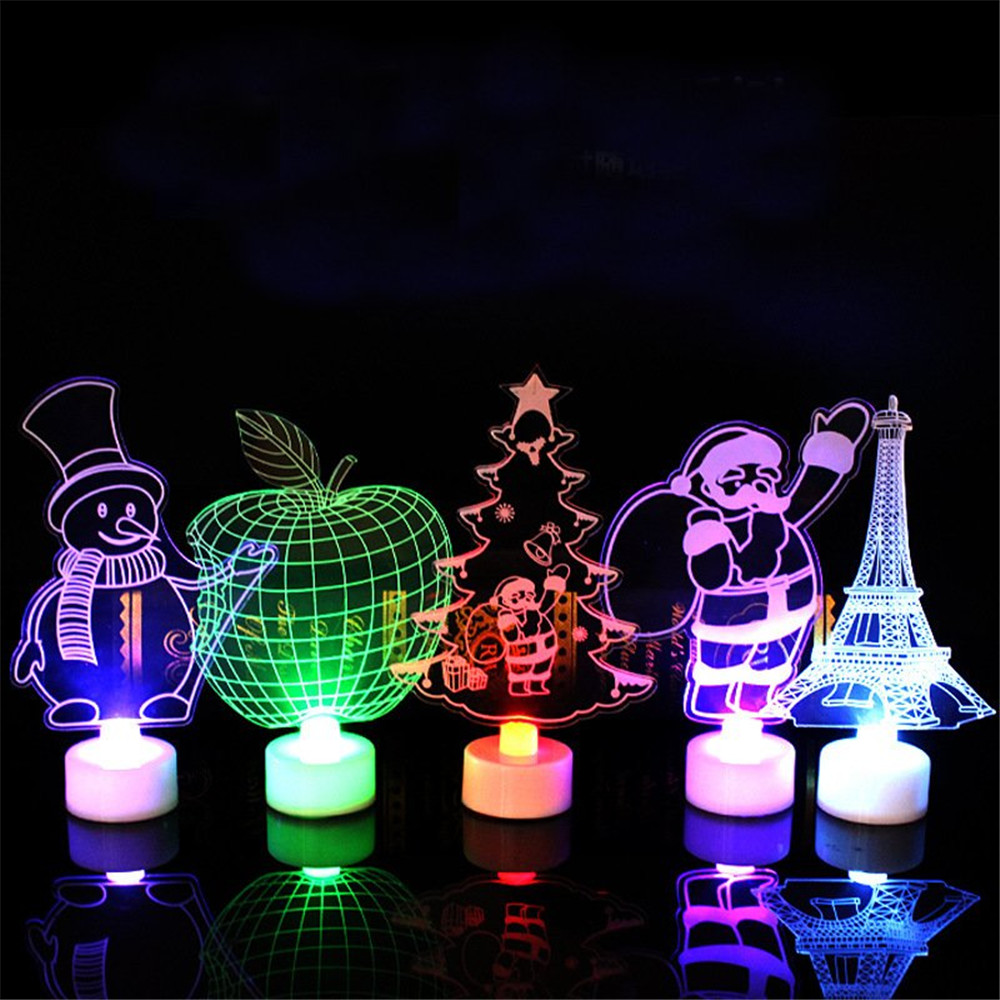 Santa Claus Multi Color LED Light Clear Acrylic Christmas Tree Mood Lamp Christmas Decoration Toys